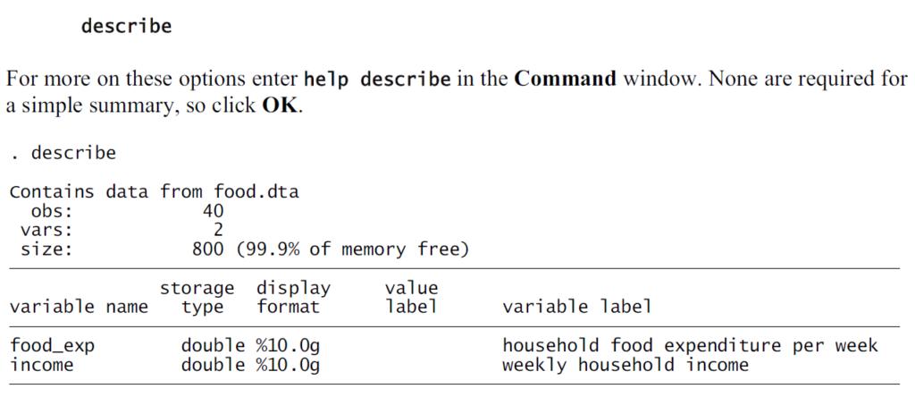 Data description using stata describe command
